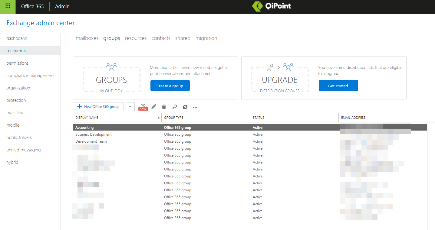 Office 365 Exchange Admin Center to Manage Group Members