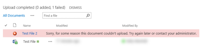 cannot upload file sharepoint