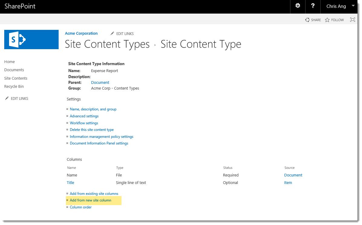 SharePoint Content Type Columns