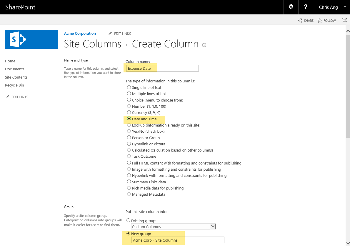 SharePoint Custom Content Type new Field