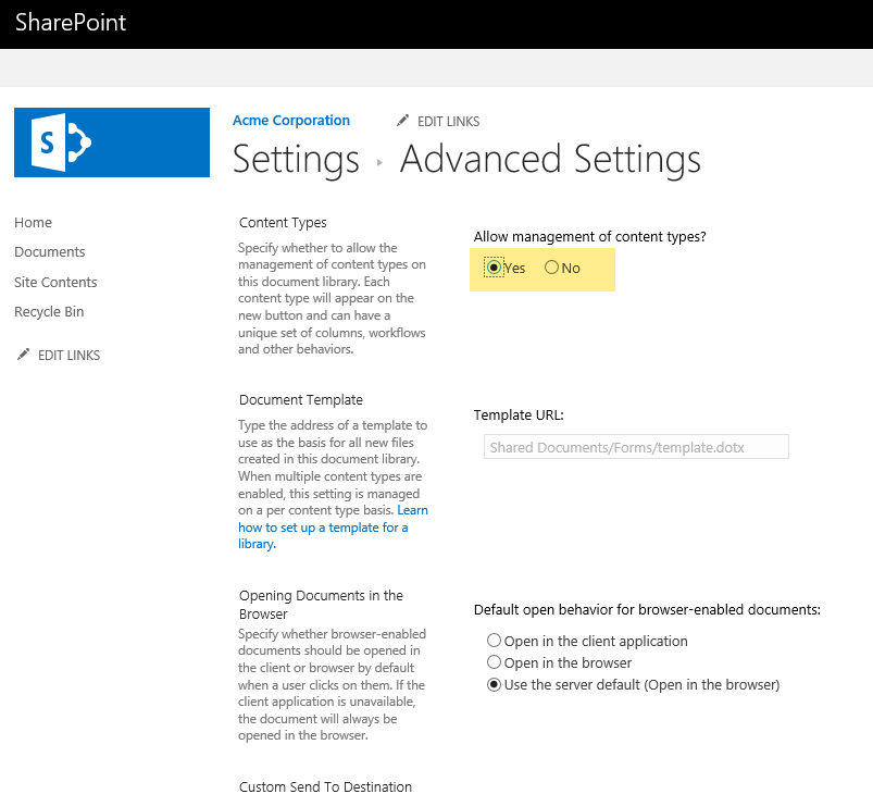 Leveraging templates to create documents in sharepoint library then click add from existing content types you should then see the add content type screen i changed to only show my acme corp content types maxwellsz